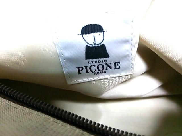 ピッコーネ PICONE ハンドバッグ レディース グレー×ダークブラウン 刺繍/フェイクファー/STUDIO ナイロン×レザー【中古】