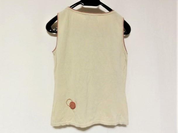 ホコモモラ JOCOMOMOLA ノースリーブセーター サイズ40 XL レディース 美品 ベージュ×マルチ 刺繍【中古】