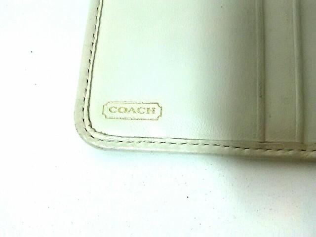 コーチ COACH 2つ折り財布 レディース エルゴ/シグネチャー柄 40751 カーキ×アイボリー ジャガード×レザー【中古】