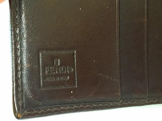 フェンディ FENDI Wホック財布 レディース ズッカ柄 ベージュ×黒×ダークブラウン ジャガード×レザー【中古】