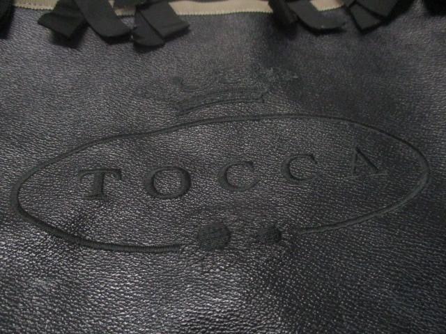 トッカ TOCCA トートバッグ レディース 黒 リボン PVC(塩化ビニール)【中古】