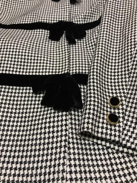 ハナエモリ HANAE MORI スカートスーツ サイズ9A3 レディース 黒×白 リボン【中古】