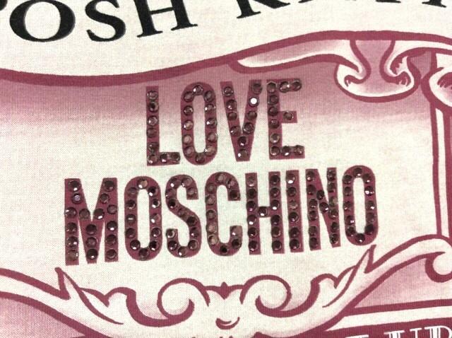 モスキーノ MOSCHINO 半袖Tシャツ サイズ42(I) M レディース ベージュ×ボルドー×黒 LOVE/ラインストーン【中古】