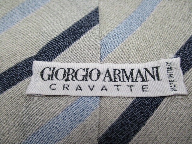 ジョルジオアルマーニ GIORGIOARMANI ネクタイ メンズ ライトグレー×ダークネイビー×ライトブルー CRAVATTE/斜めストライプ【中古】