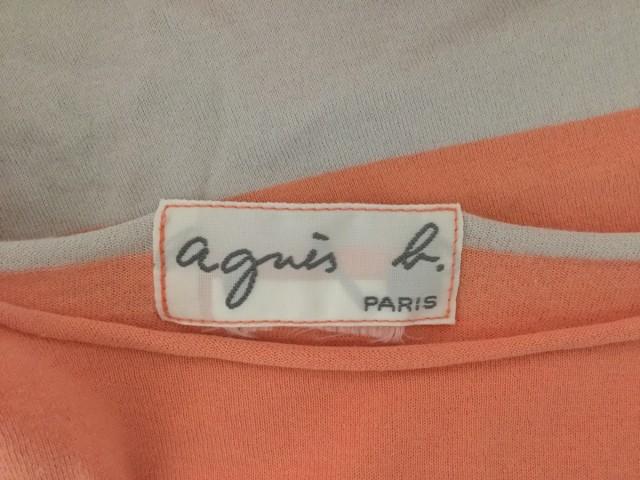 アニエスベー agnes b 半袖Tシャツ レディース ピンク×ライトグレー ボーダー【中古】