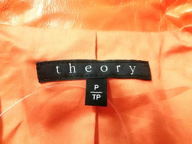 セオリー theory ライダースジャケット サイズP/TP レディース 美品 オレンジ 春・秋物/レザー【中古】