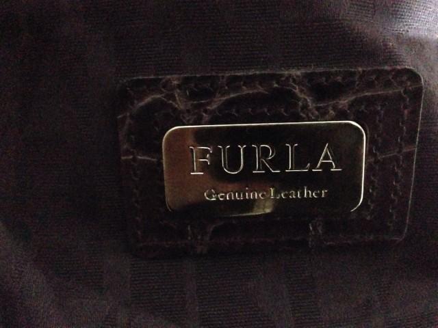 フルラ FURLA ハンドバッグ レディース 美品 ボルドー 型押し加工 レザー【中古】