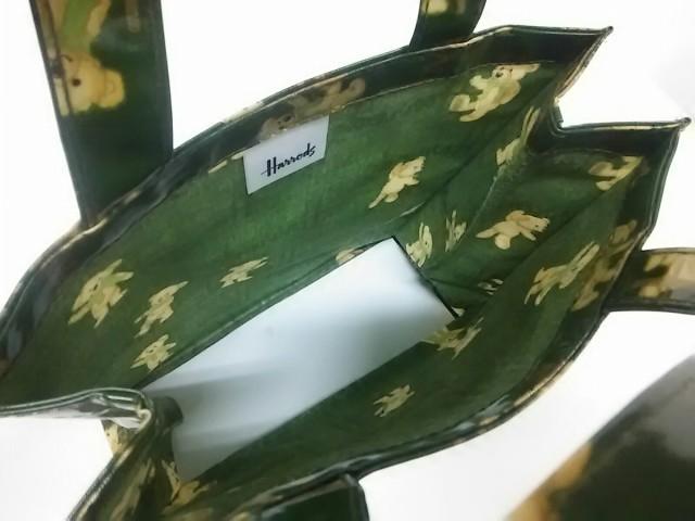ハロッズ HARRODS トートバッグ レディース 美品 ダークグリーン×ベージュ クマ コーティングキャンバス【中古】