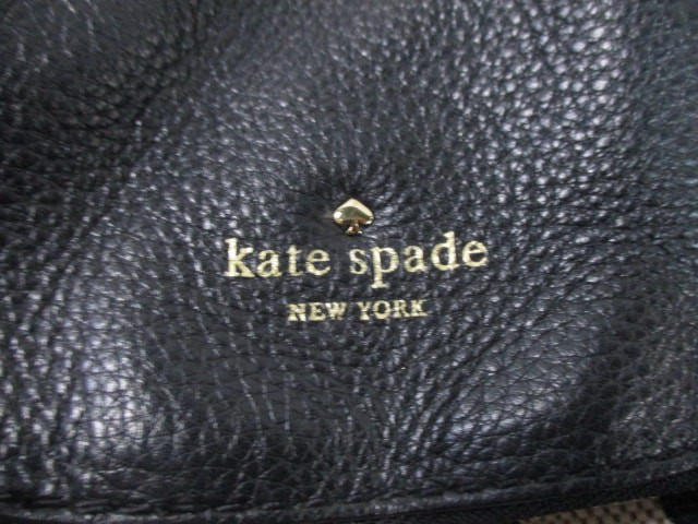 ケイトスペード Kate spade ハンドバッグ レディース ベージュ×黒 ドット柄 キャンバス×レザー【中古】