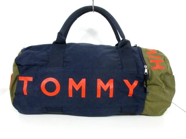 トミーヒルフィガー TOMMY HILFIGER ボストンバッグ レディース ネイビー×グリーン×オレンジ キャンバス【中古】