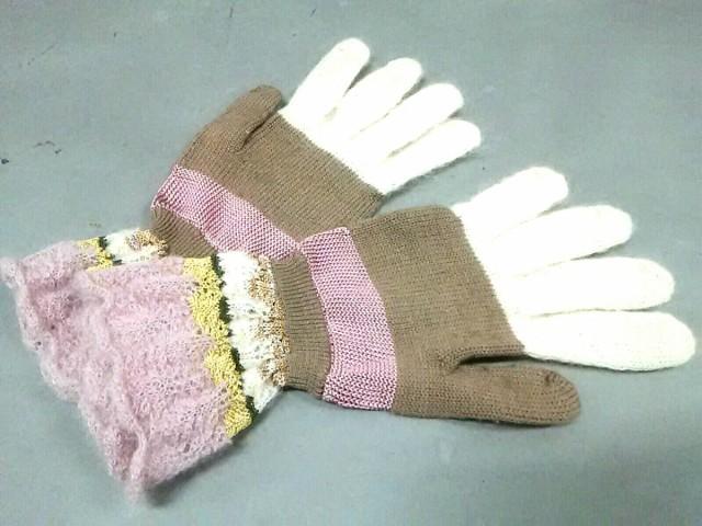ミッソーニ MISSONI 手袋 M レディース ブラウン×ピンク×マルチ 化学繊維×ウール×モヘア【中古】