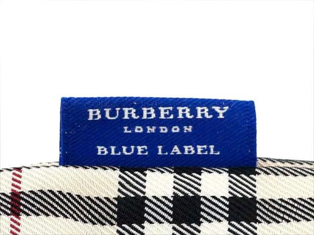 バーバリーブルーレーベル Burberry Blue Label ハンドバッグ レディース ベージュ×黒×マルチ チェック柄 ナイロン×レザー【中古】