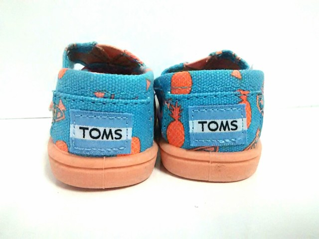 トムス TOMS 小物 T2 レディース 新品同様 ブルー×オレンジ×ベージュ ベビー靴 化学繊維【中古】
