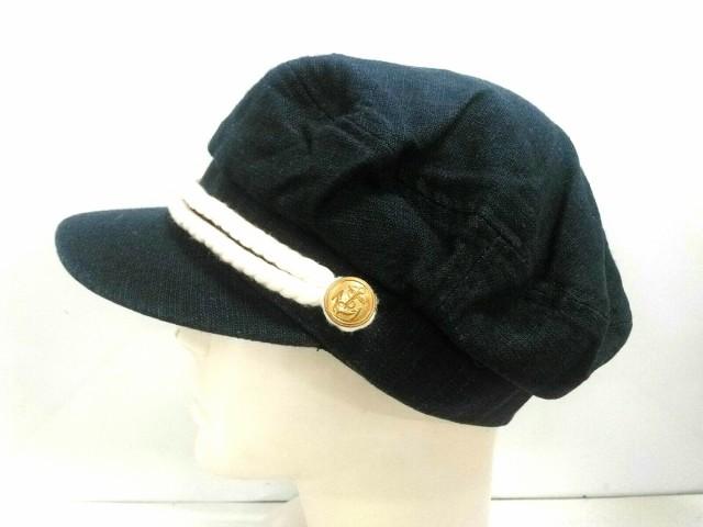 ミーア Miia 帽子 57.5cm レディース 美品 ネイビー×白×ゴールド 麻×コットン【中古】
