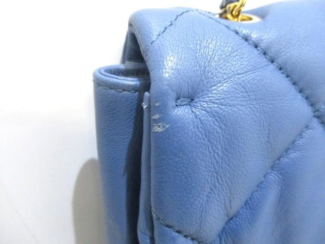 サルバトーレフェラガモ ショルダーバッグ レディース 美品 ヴァラ ブルー キルティング/チェーンショルダー レザー【中古】
