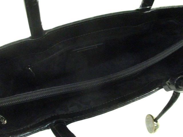 フルラ FURLA トートバッグ レディース 黒 型押し加工 レザー【中古】