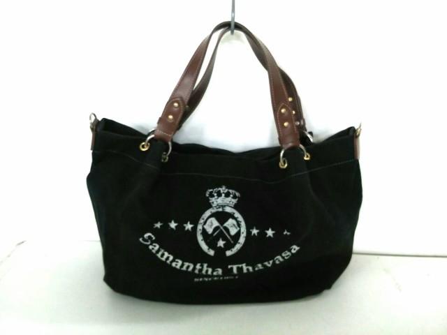 サマンサタバサ Samantha Thavasa トートバッグ レディース 黒×ブラウン キャンバス×合皮【中古】