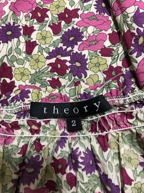セオリー theory 半袖カットソー サイズ2 S レディース 美品 ベージュ×ピンク×マルチ 花柄【中古】