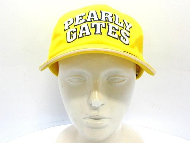 パーリーゲイツ PEARLY GATES キャップ M レディース イエロー×アイボリー×ネイビー コットン【中古】