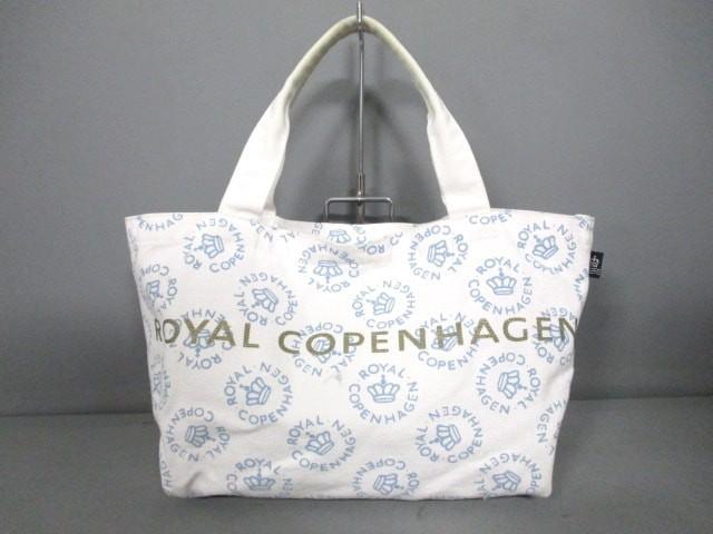 ロイヤルコペンハーゲン ROYAL COPENHAGEN トートバッグ レディース 美品 白×ライトブルー×ゴールド キャンバス【中古】