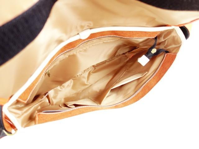 ムスタッシュ moustache ショルダーバッグ レディース 美品 オレンジ×黒×アイボリー キャンバス×合皮【中古】