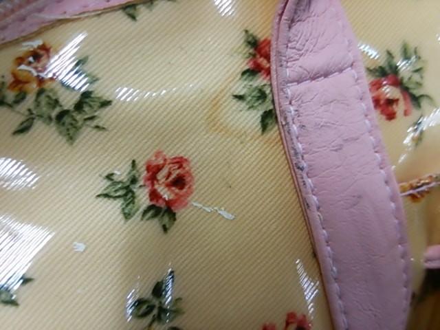 リズリサ LIZLISA ハンドバッグ レディース ベージュ×ピンク×マルチ 花柄 PVC(塩化ビニール)×合皮【中古】