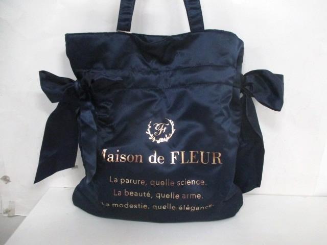 メゾンドフルール Maison de FLEUR トートバッグ レディース 美品 ネイビー サテン【中古】