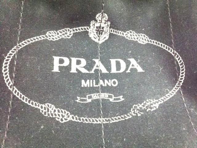 プラダ PRADA トートバッグ レディース CANAPA BN2642 黒×アイボリー キャンバス【中古】