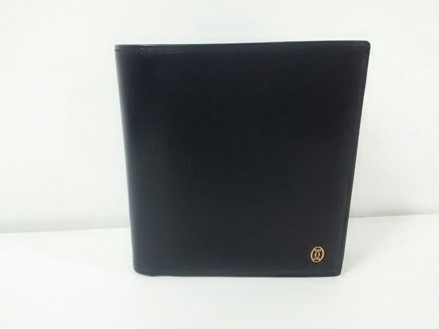 カルティエ Cartier 2つ折り財布 レディース 美品 パシャ 黒 レザー【中古】