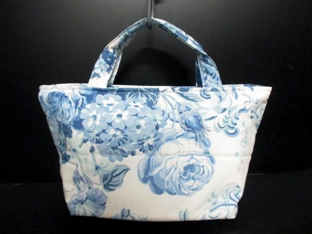ローラアシュレイ LAURAASHLEY ハンドバッグ レディース 美品 白×ブルー 3セット コットン【中古】