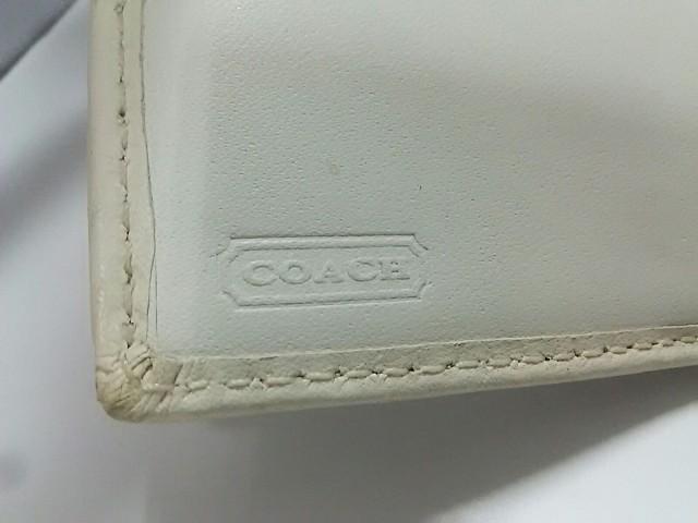 コーチ COACH 2つ折り財布 レディース シグネチャー柄 カーキ×白 ジャガード×レザー【中古】