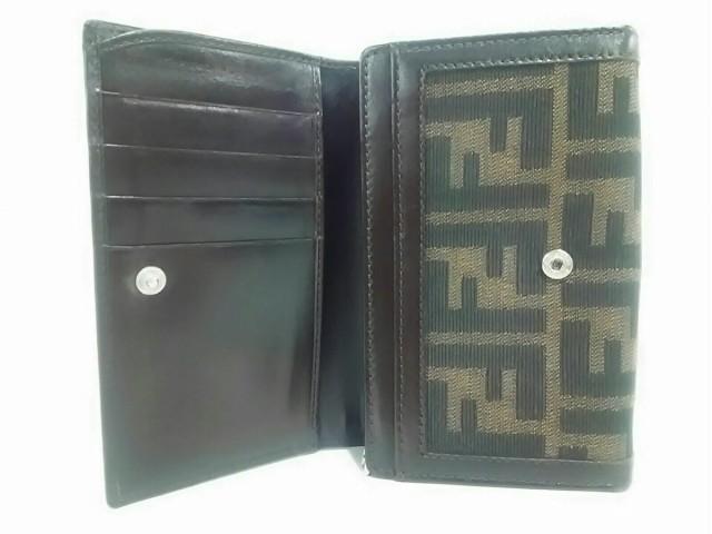 フェンディ FENDI 2つ折り財布 レディース ズッカ柄 - ダークブラウン×黒 ジャガード×レザー【中古】