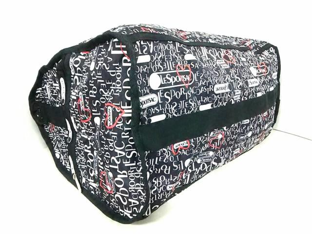 レスポートサック LESPORTSAC ボストンバッグ レディース 黒×白×レッド ハート レスポナイロン【中古】