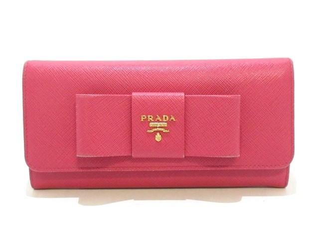 127f97adfa62 プラダ PRADA 長財布 レディース - 1MH132 ピンク リボン サフィアーノレザー【中古】