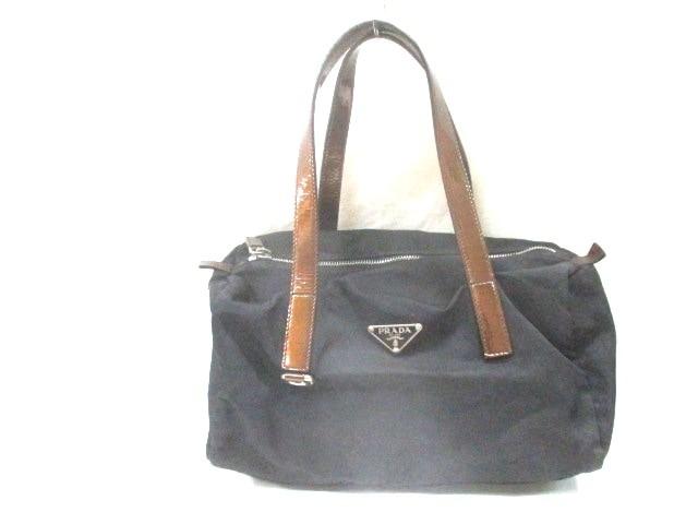 531df7ce45a8 プラダ PRADA ハンドバッグ レディース - 黒×ブロンズ 革タグ ナイロン×エナメル(レザー)