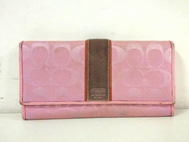f1b3a048c128 コーチ COACH 長財布 レディース シグネチャー柄 ピンク×ダークグレー×ブラウン ジャガード×スエード×
