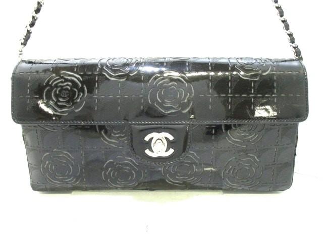 2fd9cfeca1c1 シャネル CHANEL ショルダーバッグ レディース カメリア 黒 フラワー/チェーンショルダー/シルバー金具 エナメル(
