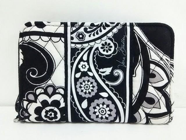 fbc72c7a54c6 ベラブラッドリー Vera Bradley 財布 レディース 黒×白×グレー ラウンドファスナー/キルティング