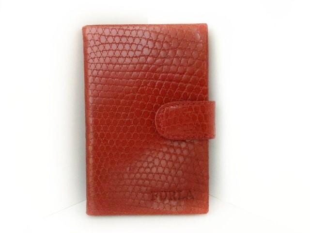 ea5a8c3cd19d フルラ FURLA 手帳 レディース 美品 レッド 型押し加工/メモ・アドレス帳 レザー