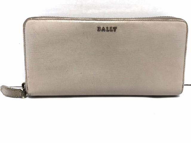 71647d5e6b08 バリー BALLY 長財布 レディース ライトグレー ラウンドファスナー レザー【中古】
