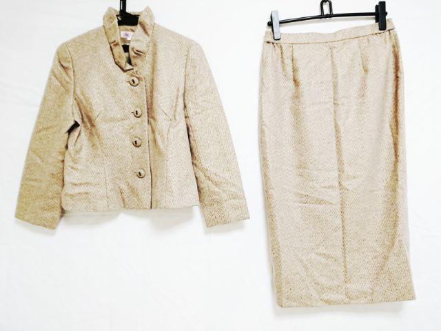 0acb7b34c613 ユキトリイ YUKITORII スカートスーツ サイズ11 M レディース ベージュ×ライトグレー×マルチ 肩パッド