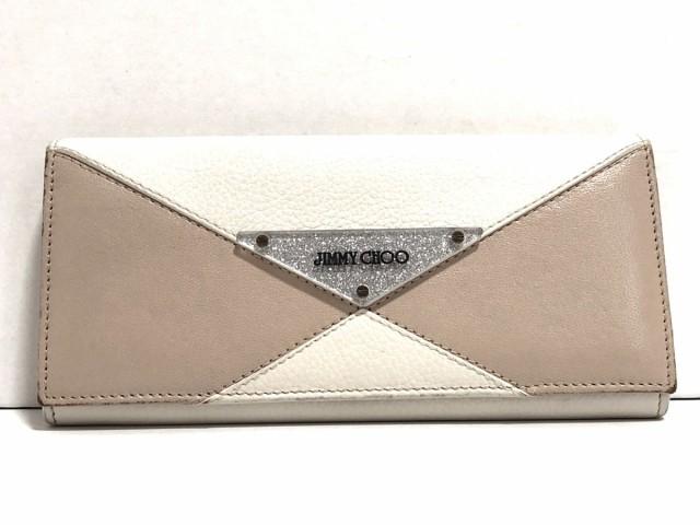 a9a4c1493b6d ジミーチュウ JIMMY CHOO 長財布 レディース - 白×ピンクベージュ×シルバー ラメ レザー