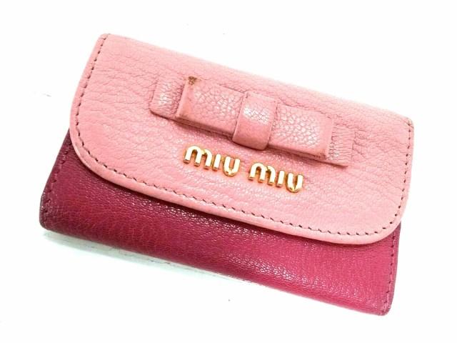buy popular 0dbe3 1dc2a ミュウミュウ miumiu キーケース レディース - ピンク 6●連フック レザー【中古】