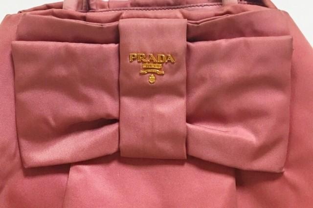 266bb9f6ab62 プラダ PRADA トートバッグ レディース - BN1601 ピンク リボン ナイロン×レザー【中古】