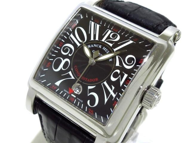 official photos d2954 1836d フランクミュラー FRANCK MULLER 腕時計 コンキスタドールコルテス 10000HSC メンズ SS/革ベルト 黒【中古】
