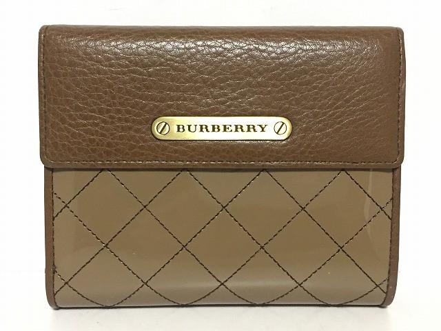51f84a874192 バーバリー Burberry 2つ折り財布 レディース ダークブラウン がま口/キルティング エナメル(レザー)×