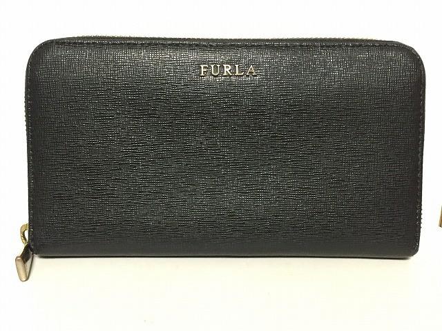 online store b214f 50b11 フルラ FURLA 長財布 レディース 黒 ラウンドファスナー レザー【中古】