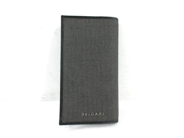 b13568751208 ブルガリ BVLGARI 長財布 レディース 美品 ウィークエンド グレー×黒 PVC(塩化ビニール)