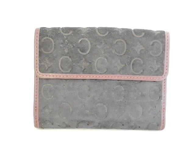 1a5691944619 セリーヌ CELINE Wホック財布 レディース - 黒×ブラウン スエード【中古 ...