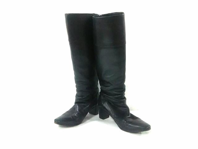 熱い販売 黒 ロングブーツ レディース HERMES エルメス レザー【】-靴・シューズ